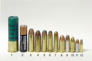 Handgun ammunition, with shotgun shell and battery for comparison.  From left to right: 12 gauge shotgun shell, AA battery, .454 Casull, .45 Winchester Magnum, .44 Remington Magnum, .357 Magnum, .38 Special, .45 ACP, .38 Super, 9 mm Luger, .32 ACP, .22 LR (note that this doesn't show all the cartridges described in this post, and throws in a few that aren't).  Photo by Avriette / Wikimedia Commons, CC-BY-SA.