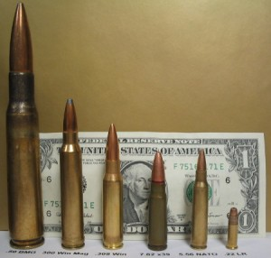 Comparison of some common rifle cartridges.  From left to right: .50 BMG, .300 Winchester Magnum, .308 Winchester, 7.62x39mm, 5.56 NATO, .22 LR.  Wikimedia Commons / public domain.
