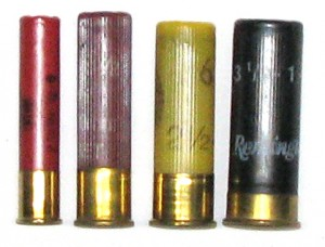 Comparison of shotgun shells.  From left to right: .410, 28 gauge, 20 gauge, 12 gauge.  Photo by AliveFreeHappy, Wikimedia Commons / CC-BY-SA.